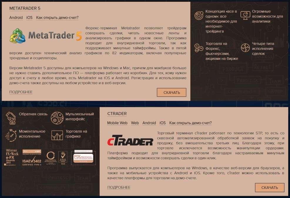 Торговые платформы можно скачать на сайте брокера.
