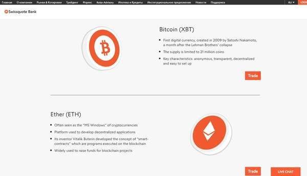 Swissquote - сайт